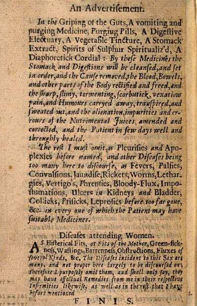 facsimile of printed page from late-17th-century medical tract