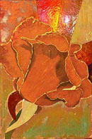 "Panel from ""Roses"", a mixed-media work by Tuck Contreras"